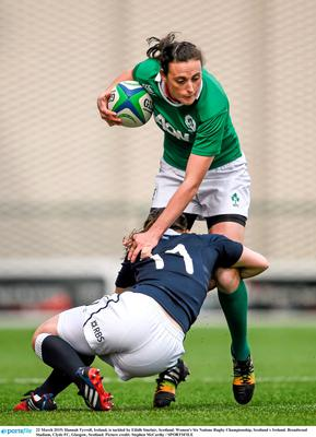 Hannah Tyrrell, Ireland, is tackled by Eilidh Sinclair, Scotland. Women's Six Nations Rugby Championship, Scotland v Ireland. Broadwood Stadium, Clyde FC, Glasgow, Scotland. Picture credit: Stephen McCarthy / SPORTSFILE