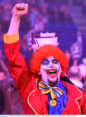 26 March 2015; Darts fans at the 3Arena, Dublin, during the Betway Premier League Darts event. Picture credit: Stephen McCarthy / SPORTSFILE
