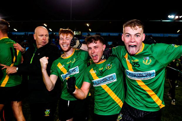 Thomas Davis players, from left, Sean Kennedy, David Keogh and Mark Nolan celebrate following their Dublin County Senior Club Football Championship semi-final victory over Kilmacud Crokes at Parnell Park, Dublin. Photo: David Fitzgerald/Sportsfile