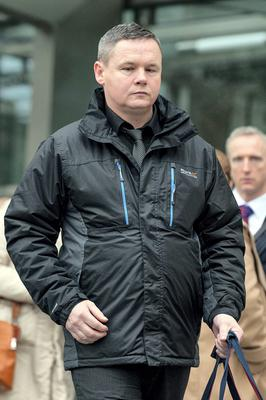 Water charges protester Paul Moore outside court yesterday. Picture: Collins