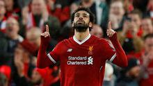 Liverpool's Mohamed Salah celebrates scoring the first goal in Tuesday's Champions League semi-final against Roma. REUTERS/Phil Noble