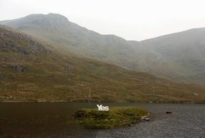 """A """"Yes"""" campaign poster is displayed on the Isle of Lewis in the Outer Hebrides September."""
