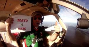 Aidan Beirne takes to the sky to wish Mayo well.