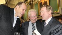 Taoiseach Enda Kenny with Ivan Yates and Peter Prendergast at the launch of Just Garret, Garret FitzGerald's autobiography in 2011. Photo: Collins