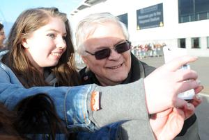 Keith Tomlinson, grandfather of One Direction's Louis Tomlinson, meets fans outside the Keepmoat Stadium, Doncaster where Louis is making his debut for the reserves
