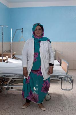Gynecologist, Nidal Baba  photographed at the central hospital Rabouni Refugee Camp, Sahara.  Picture: Clare Keogh