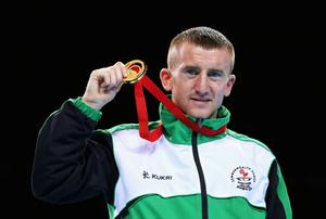 GLASGOW, SCOTLAND - AUGUST 02:  Gold medalist Paddy Barnes of Northern Ireland poses during the medal ceremony for the Men's Light Fly (49kg) Final at SSE Hydro during day ten of the Glasgow 2014 Commonwealth Games on August 2, 2014 in Glasgow, Scotland.  (Photo by Alex Livesey/Getty Images)