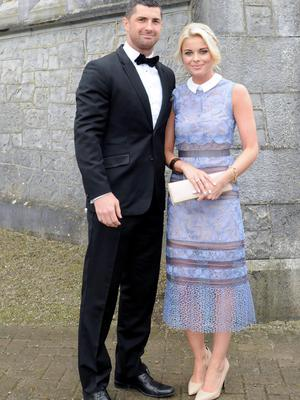 12/6/2015  Attending the Wedding of Irish Rugby player Sean Cronin and Claire Mulcahy at St. Josephs Catholic Church, Castleconnell, Co. Limerick were Rob Kearney and Jess Redden. Pic: Gareth Williams / Press 22