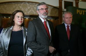 Sinn Fein president Gerry Adams (centre) with Sinn Fein deputy leader Mary Lou McDonald and Northern Ireland Deputy First Minister Martin McGuinness as he arrives for a press conference in the Balmoral Hotel, Belfast, after his release from custody at Antrim Police Station following questioning  in connection with the murder of mother-of-10 Jean McConville in 1972. Photo: Brian Lawless/PA Wire