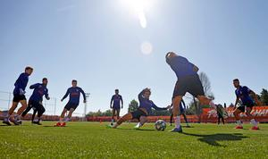 Spanish sides are now involved in group training as they build towards a resumption. Photo: Atletico de Madrid via AP