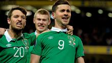 29 March 2015; Republic of Ireland's Shane Long, 9, celebrates with team-mates Wesley Hoolahan, left, and James McClean after scoring his side's equalising goal. UEFA EURO 2016 Championship Qualifier, Group D, Republic of Ireland v Poland. Aviva Stadium, Lansdowne Road, Dublin. Picture credit: David Maher / SPORTSFILE