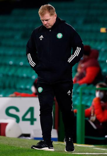 Celtic manager Neil Lennon appears frustrated during the UEFA Europa League Group H match at Celtic Park
