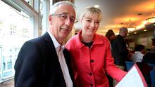 Labour's Kevin Humphreys, who lost his seat in the General Election and is contesting the Seanad election, pictured with outgoing Senator Mairia Cahill at the counting of votes for the Administrative Panel in the Seanad elections at Leinster House yesterday. Photo: Tom Burke