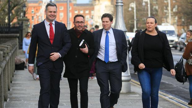 New line up: Sinn Fein TDs (from left) Pearse Doherty, Eoin Ó Broin, Matt Carthy and Louise O'Reilly. Photo: Gareth Chaney/Collins