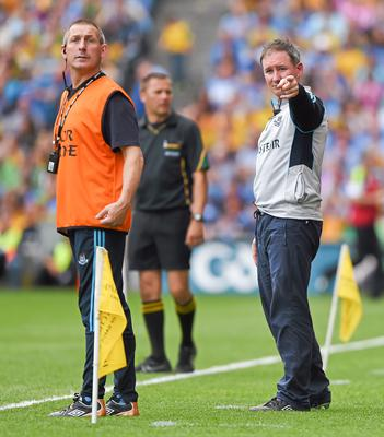 Jim Gavin and selector Mick Deegan during Dublin's defeat to Donegal in the 2014 All-Ireland football semi-final. Stephen McCarthy / SPORTSFILE