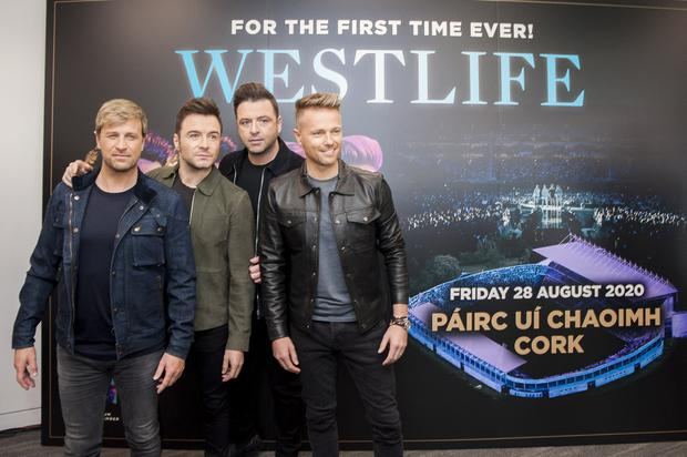 Westlife pictured at a press conference at Pairc Ui Chaoimh, Cork. Photo: Daragh Mc Sweeney/Provsion