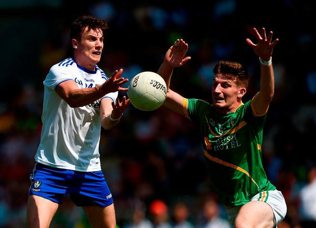 Thomas Kerr of Monaghan in action against Shane Quinn of Leitrim. Photo: Daire Brennan/Sportsfile