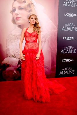 """APRIL 19: Blake wears a dramatic Monique Lhuillier gown, Sophia Webster shoes and $5m worth of Lorraine Schwartz jewels to the  """"The Age of Adaline"""" New York premiere."""