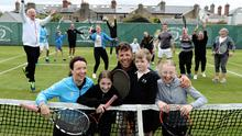 17.0Holding court: The Redmond family – Katie and William with children Lucy (15), Ali (12) and Will (6) – with other club members at Claremont Railway LTC in Dublin's Sandymount make preparations to play under tight HSE and Tennis Ireland restrictions. Only people from the same family group can play doubles tennis under this phase. Photo: Maxwells