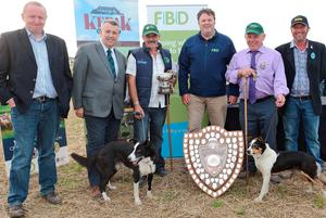 Michael Geoghegan, John Gilliland, Barra O'Brien and Floss, winners of the best dog lift and fetch, Tommy Grehan, and Con McGarry, who captained the Irish team to their second ever win in the International Team Shield  with his dog Magan, and host John Hanley iin Creggs, Co Roscommon at the weekend