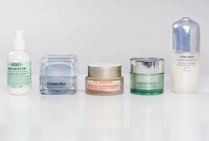 Pictured, from left: Kiehl's Skin Rescuer; This Works No Wrinkles Midnight Moisture; Clarins Extra-Firming Neck Anti-Wrinkle Rejuvenating Cream; Clinique Superdefense SPF 20 in Very Dry to Dry Combination; Shiseido Future Solution LX SPF 15 Total Protective Emulsion