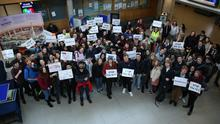 Students at a campus accommodation rally at University College Dublin (UCD)