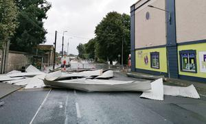Damage from Storm Ellen in Clonmel, Co Tipperary Photo: Jonathan Ryan