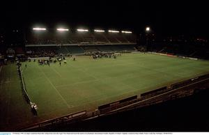 15 February 1995; An empty Lansdowne Road after rioting broke out in the Upper West Stand and forced the match to be abandoned. International Friendly, Republic of Ireland v England, Lansdowne Road, Dublin. Picture credit; Ray McManus / SPORTSFILE