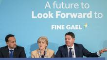 Fine Gael launches its economic plan. From left, Taoiseach Leo Varadkar, Heather Humphreys and Paschal Donohoe. Photo: Douglas O'Connor