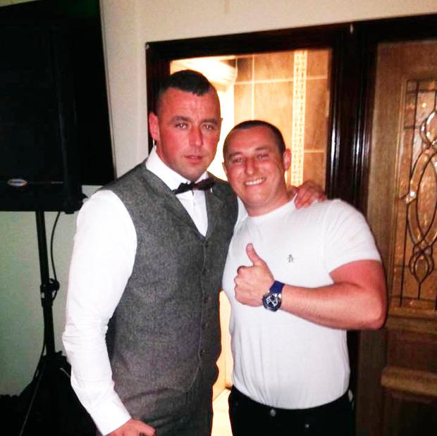 Pic Shows: Jonathan Keogh or Johnny Keogh (LEFT IN WAIST COAT AND DICKIE BOW) and Thomas Tossy Fox. Both men are accused of murder of Gareth Hutch. Johnny Keogh is the brother of Hutch Gang murder victim Michael Keogh. Michael was shot dead on May 31st 2017 in an underground car park in Dorset Street.