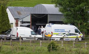 Forensic Gardai remove the remains of Valerie Kilroy from a hay barn at Kilbree, Westport, Co Mayo. Credit:Mark Condren