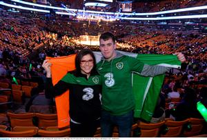 Irish UFC fans Kristie Spencer and Paul Smith, Washington DC, ahead of Conor McGregor's fight at the TD Garden, Boston