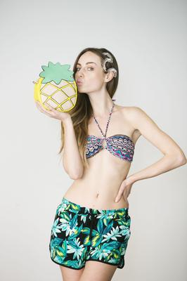 Daniella Moyles in the sizzling new summer collection from Penneys which launched today. Daniella wears Bikini set (€5), shorts (€5), bag (€10), shoes (€9).