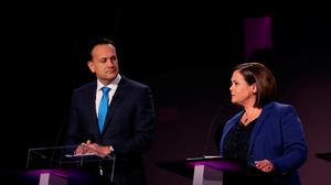 Fine Gael leader, Taoiseach Leo Varadkar and Sinn Fein leader Mary Lou McDonald, during the seven way RTE leaders debate at the National University of Ireland Galway (NUIG) campus in Galway, Ireland. Niall Carson/PA Wire