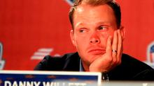 CHASKA, MN - OCTOBER 02:  Danny Willett of Europe looks on during a press conference after being defeated by the United States during singles matches of the 2016 Ryder Cup at Hazeltine National Golf Club on October 2, 2016 in Chaska, Minnesota.  (Photo by Cliff Hawkins/Getty Images)