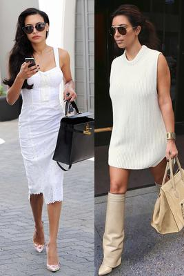 Naya went for vintage daywear, while Kim added a modern twist on her all white ensemble