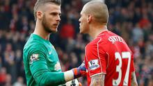 David De Gea confronts Martin Skrtel after it appeared the defender had stepped on the Spaniard in the 95th minute of the match at Anfield, which Liverpool lost 2-1