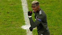 Manchester United's Paul Pogba celebrates after scoring against RB Leipzig in the Champions League. Photo: REUTERS/Odd Andersen