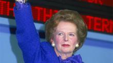 British Prime Minister Margaret Thatcher at the Conservative Party Conference in Blackpool, October 1987. Photo: Getty Images