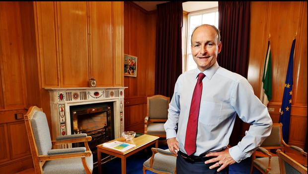 Taoiseach Micheal Martin in his office. Photo by Steve Humphreys