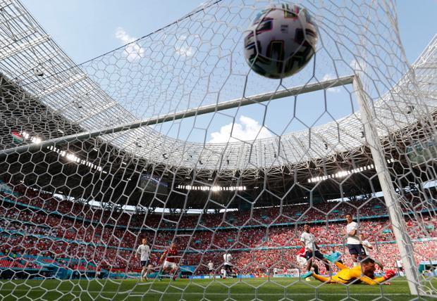 Hungary's Attila Fiola scores against France in their Euro 2020 Group F clash at the Puskas Arena, Budapest