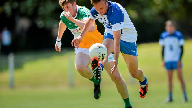 20 June 2015; Mark Ferncombe, Waterford, in action against Johnny Moloney, Offaly. GAA Football All-Ireland Senior Championship, Round 1A, Waterford v Offaly, Fraher Field, Dungarvan, Co. Waterford. Picture credit: Matt Browne / SPORTSFILE