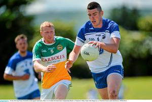 20 June 2015; Paul Whyte, Waterford, in action against Niall Darby, Offaly. GAA Football All-Ireland Senior Championship, Round 1A, Waterford v Offaly, Fraher Field, Dungarvan, Co. Waterford. Picture credit: Matt Browne / SPORTSFILE