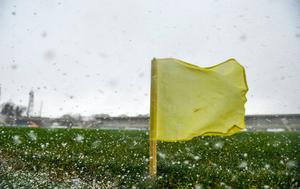 A sideline flag blowing in the wind during a hail shower ahead of the Allianz Hurling League Division 1 Group B Round 3 match between Clare and Laois at Cusack Park in Ennis, Clare. Photo: Eóin Noonan/Sportsfile