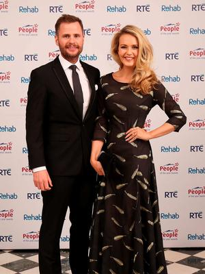 John Burke and Aoibhin Garrihy at the 2015 People of the Year Awards organised by Rehab and held in RTE. Picture: Robbie Reynolds