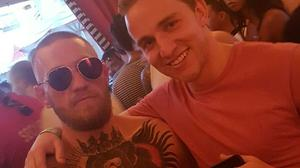 Mick Konstantin and Conor McGregor at the pool party in the Wynne Hotel