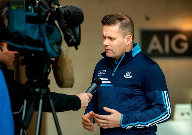 New Dublin football manager Dessie Farrell speaks to the media at AIG HQ today