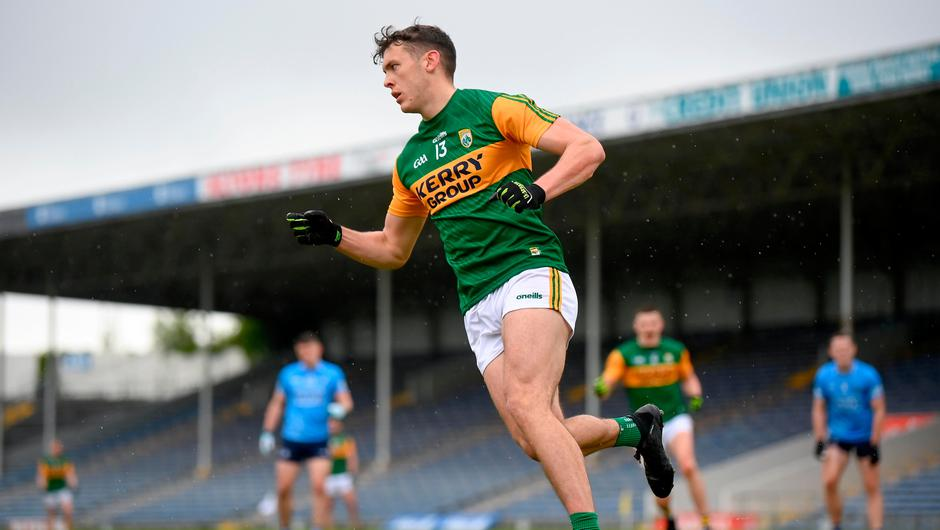 David Clifford celebrates scoring a goal from a late penalty kick to level the scores in injury time of the Allianz Football League Division 1 South clash against Dublin at Semple Stadium in Thurles, Tipperary. Photo: Stephen McCarthy/Sportsfile