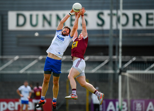 Tommy Prendergast of Waterford in action against Kieran Martin of Westmeath during the GAA Football All-Ireland Senior Championship Round 1 match at TEG Cusack Park in Mullingar, Westmeath. Photo by Harry Murphy/Sportsfile