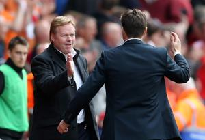 "Football - Southampton v Tottenham Hotspur - Barclays Premier League - St Mary's Stadium - 25/4/15 Tottenham manager Mauricio Pochettino shakes hands with Southampton manager Ronald Koeman after the game Action Images via Reuters / Matthew Childs Livepic EDITORIAL USE ONLY. No use with unauthorized audio, video, data, fixture lists, club/league logos or ""live"" services. Online in-match use limited to 45 images, no video emulation. No use in betting, games or single club/league/player publications.  Please contact your account representative for further details."